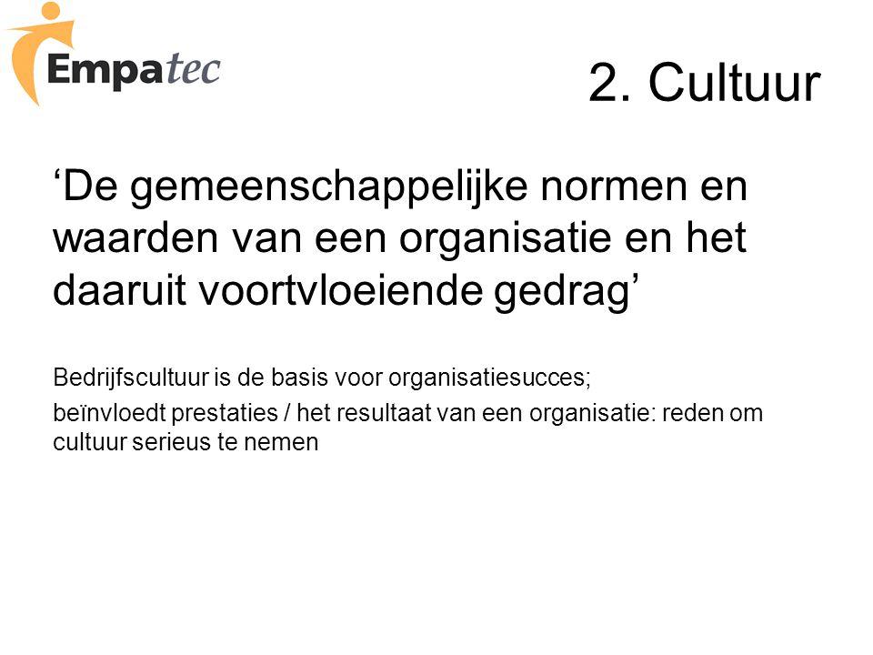 2. Cultuur 'De gemeenschappelijke normen en waarden van een organisatie en het daaruit voortvloeiende gedrag' Bedrijfscultuur is de basis voor organis