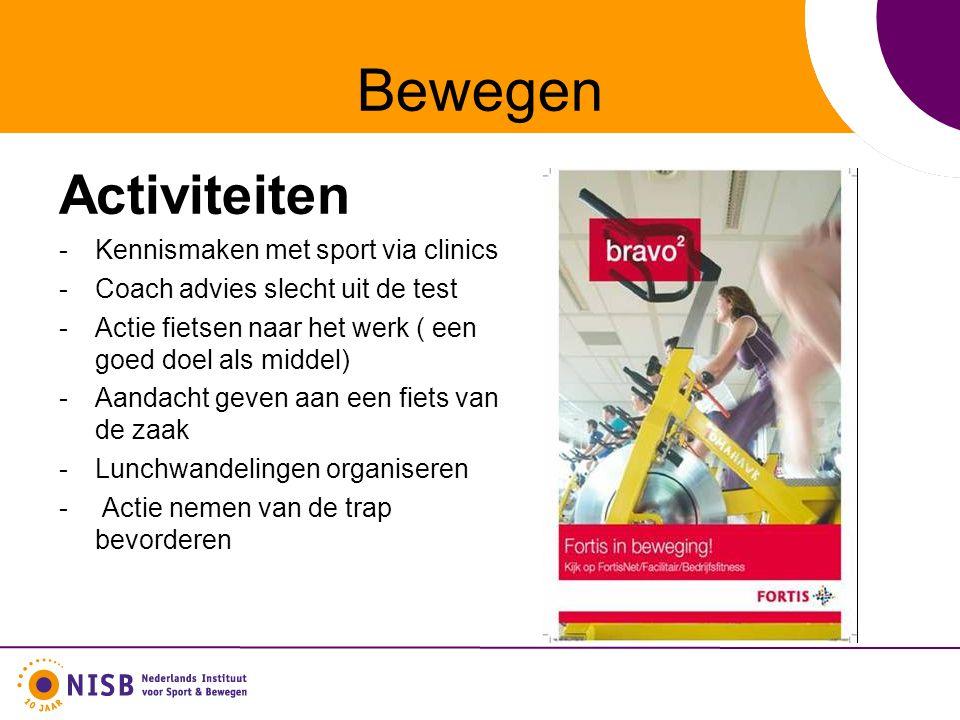 Bewegen Activiteiten -Kennismaken met sport via clinics -Coach advies slecht uit de test -Actie fietsen naar het werk ( een goed doel als middel) -Aandacht geven aan een fiets van de zaak -Lunchwandelingen organiseren - Actie nemen van de trap bevorderen