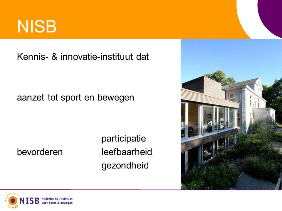 NISB Kennis- & innovatie-instituut dat aanzet tot sport en bewegen participatie bevorderen leefbaarheid gezondheid
