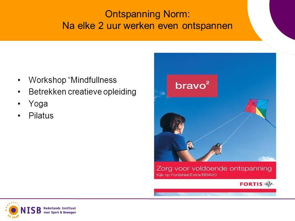 Ontspanning Norm: Na elke 2 uur werken even ontspannen Workshop Mindfullness Betrekken creatieve opleiding Yoga Pilatus