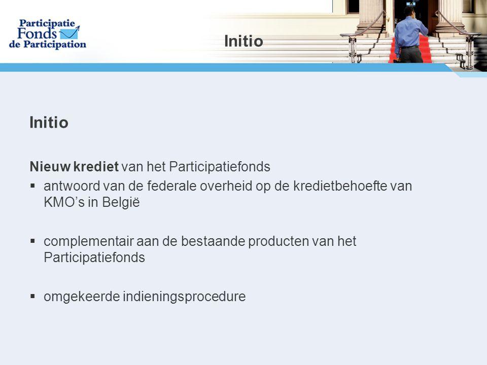 Initio Nieuw krediet van het Participatiefonds  antwoord van de federale overheid op de kredietbehoefte van KMO's in België  complementair aan de bestaande producten van het Participatiefonds  omgekeerde indieningsprocedure