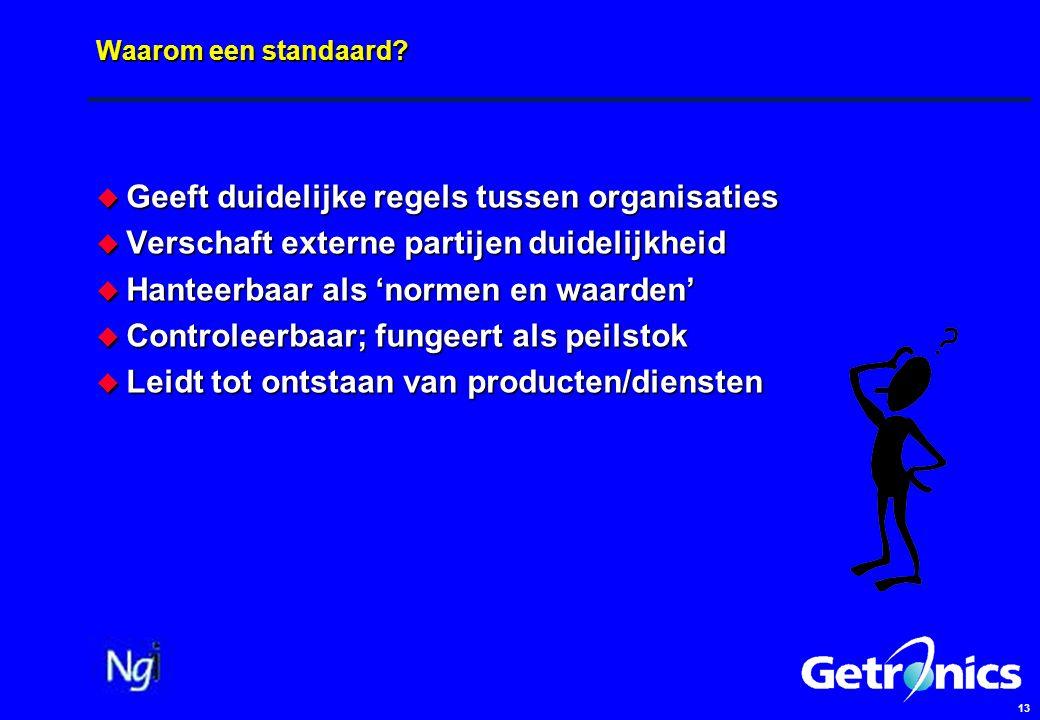 13 Waarom een standaard?  Geeft duidelijke regels tussen organisaties  Verschaft externe partijen duidelijkheid  Hanteerbaar als 'normen en waarden