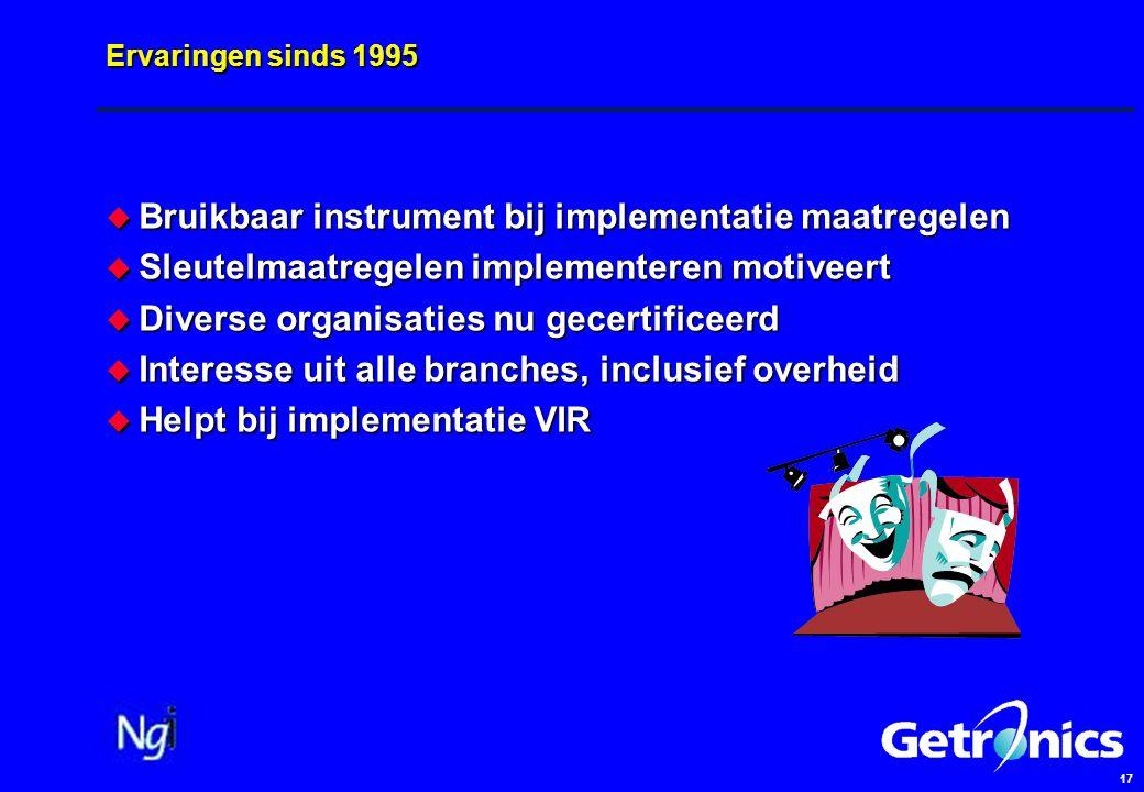 17 Ervaringen sinds 1995  Bruikbaar instrument bij implementatie maatregelen  Sleutelmaatregelen implementeren motiveert  Diverse organisaties nu g