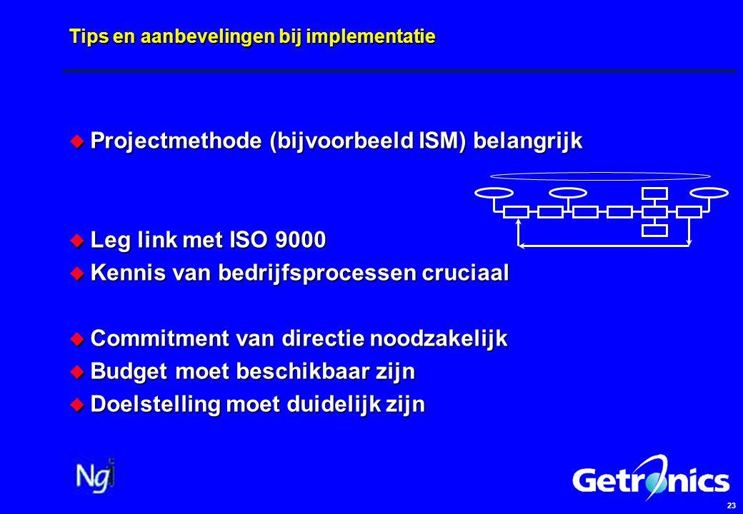 23 Tips en aanbevelingen bij implementatie  Projectmethode (bijvoorbeeld ISM) belangrijk  Leg link met ISO 9000  Kennis van bedrijfsprocessen cruci