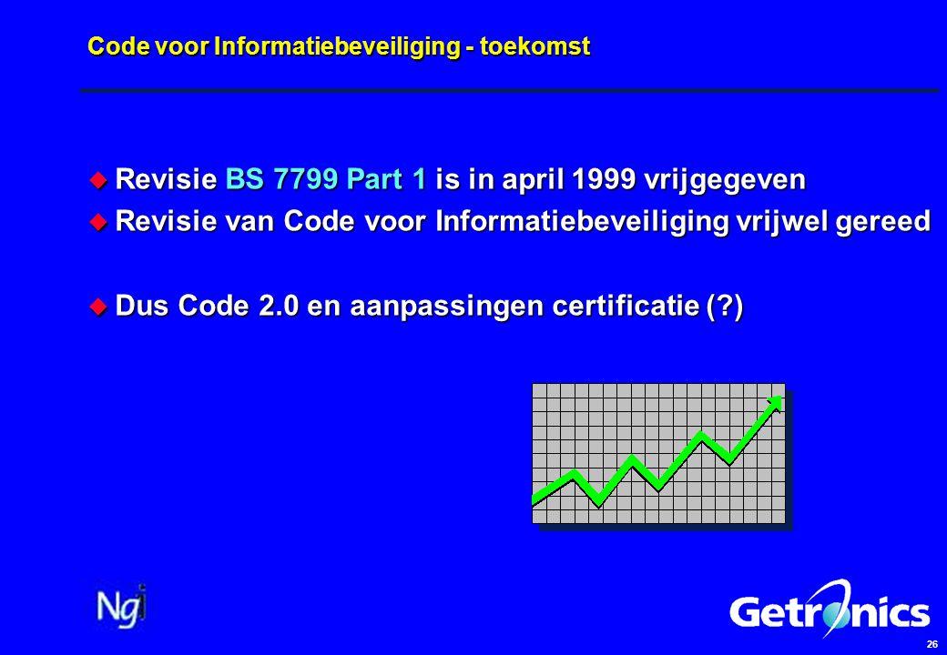 26 Code voor Informatiebeveiliging - toekomst  Revisie BS 7799 Part 1 is in april 1999 vrijgegeven  Revisie van Code voor Informatiebeveiliging vrijwel gereed  Dus Code 2.0 en aanpassingen certificatie ( )