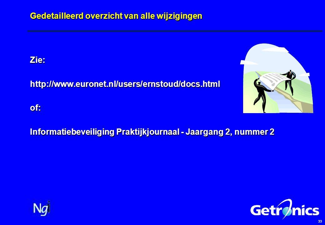 33 Gedetailleerd overzicht van alle wijzigingen Zie:http://www.euronet.nl/users/ernstoud/docs.htmlof: Informatiebeveiliging Praktijkjournaal - Jaargan