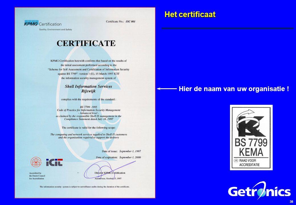 38 Het certificaat Hier de naam van uw organisatie !