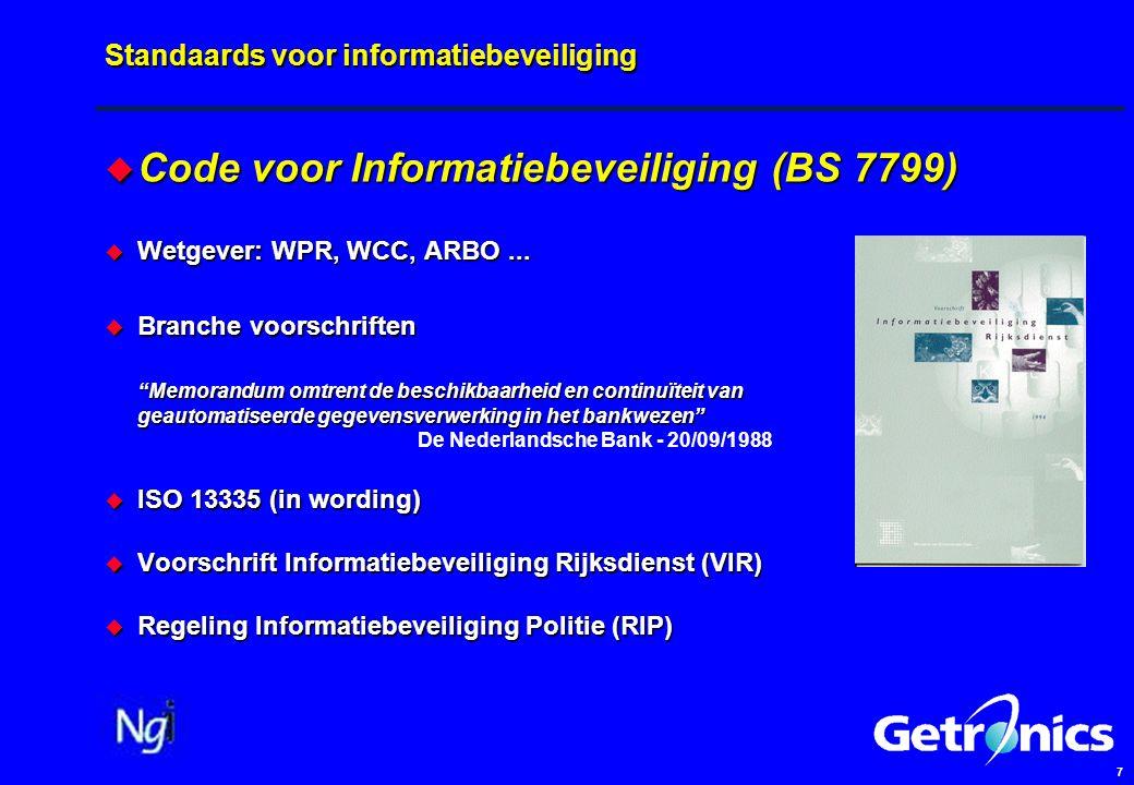 7 Standaards voor informatiebeveiliging  Code voor Informatiebeveiliging (BS 7799)  Wetgever: WPR, WCC, ARBO...