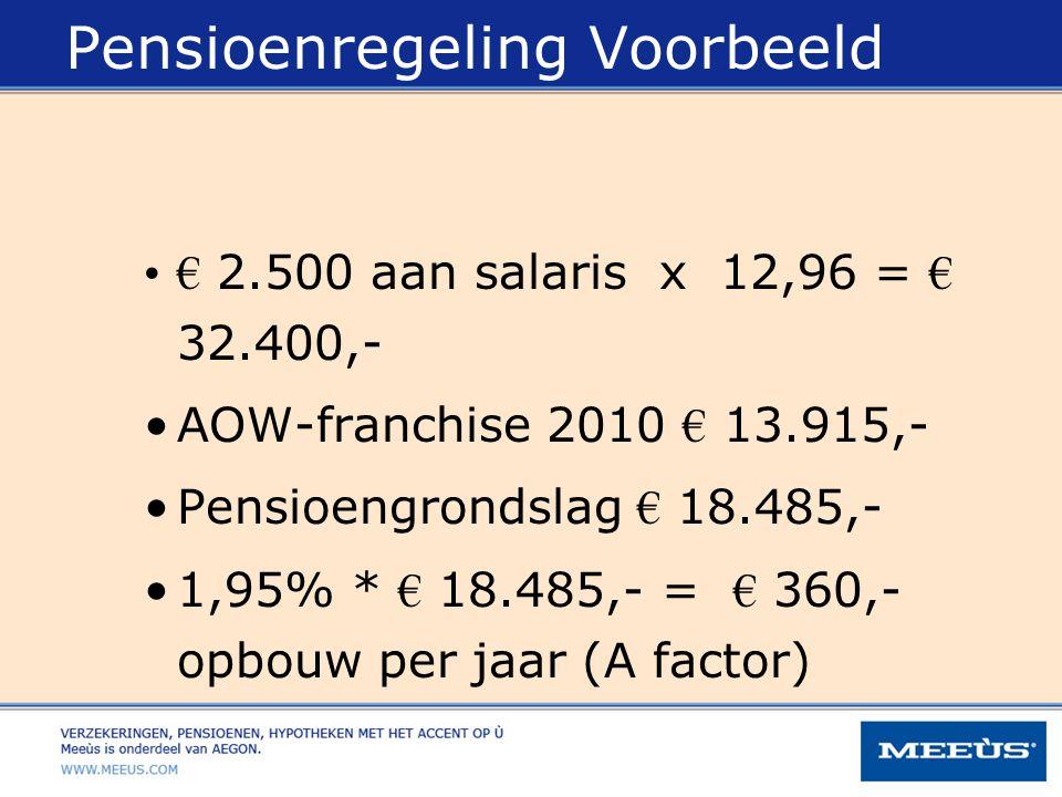 Pensioenregeling Voorbeeld € 2.500 aan salaris x 12,96 = € 32.400,- AOW-franchise 2010 € 13.915,- Pensioengrondslag € 18.485,- 1,95% * € 18.485,- = €