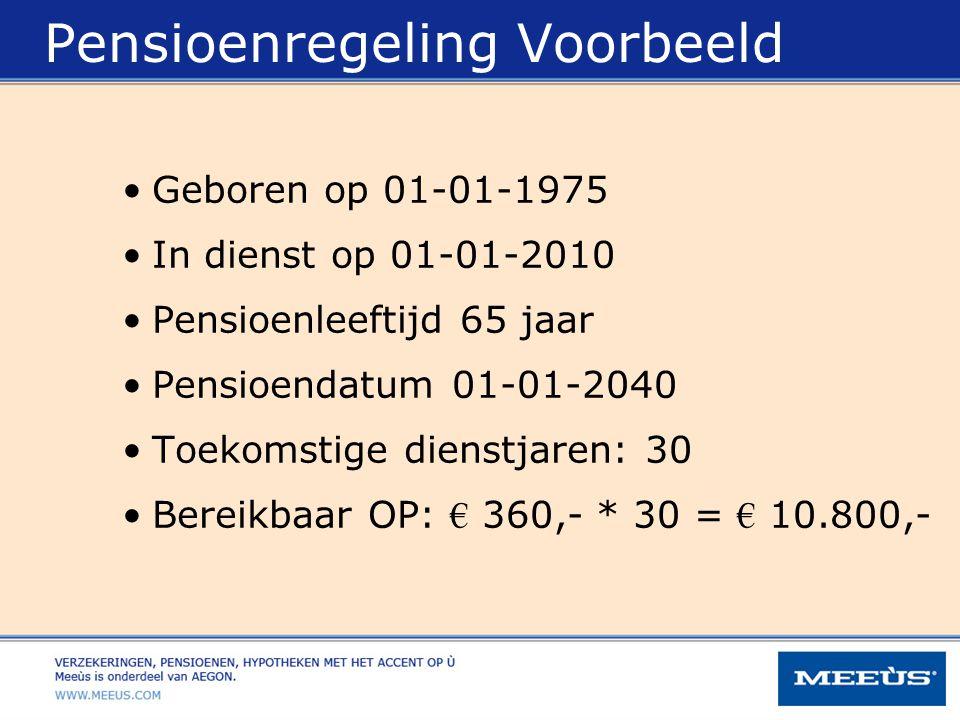 Pensioenregeling Voorbeeld Geboren op 01-01-1975 In dienst op 01-01-2010 Pensioenleeftijd 65 jaar Pensioendatum 01-01-2040 Toekomstige dienstjaren: 30