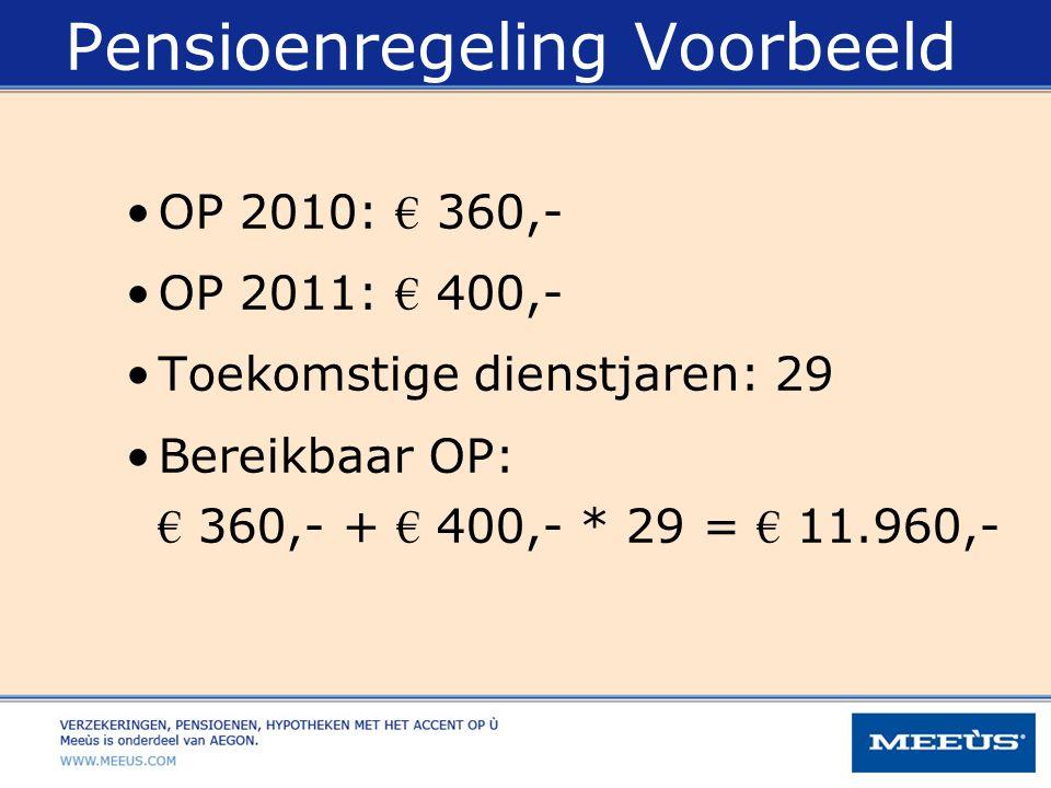 Pensioenregeling Voorbeeld OP 2010: € 360,- OP 2011: € 400,- Toekomstige dienstjaren: 29 Bereikbaar OP: € 360,- + € 400,- * 29 = € 11.960,-