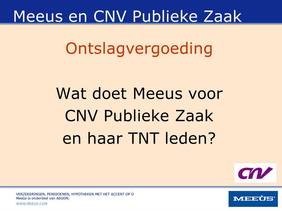 Meeus en CNV Publieke Zaak Ontslagvergoeding Wat doet Meeus voor CNV Publieke Zaak en haar TNT leden?