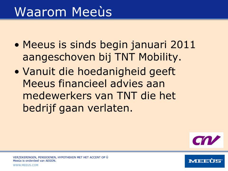 Waarom Meeùs Meeus is sinds begin januari 2011 aangeschoven bij TNT Mobility. Vanuit die hoedanigheid geeft Meeus financieel advies aan medewerkers va