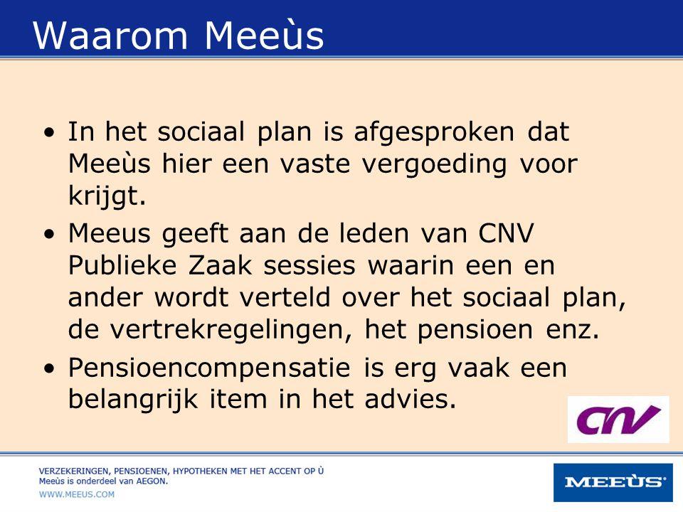 Waarom Meeùs In het sociaal plan is afgesproken dat Meeùs hier een vaste vergoeding voor krijgt. Meeus geeft aan de leden van CNV Publieke Zaak sessie