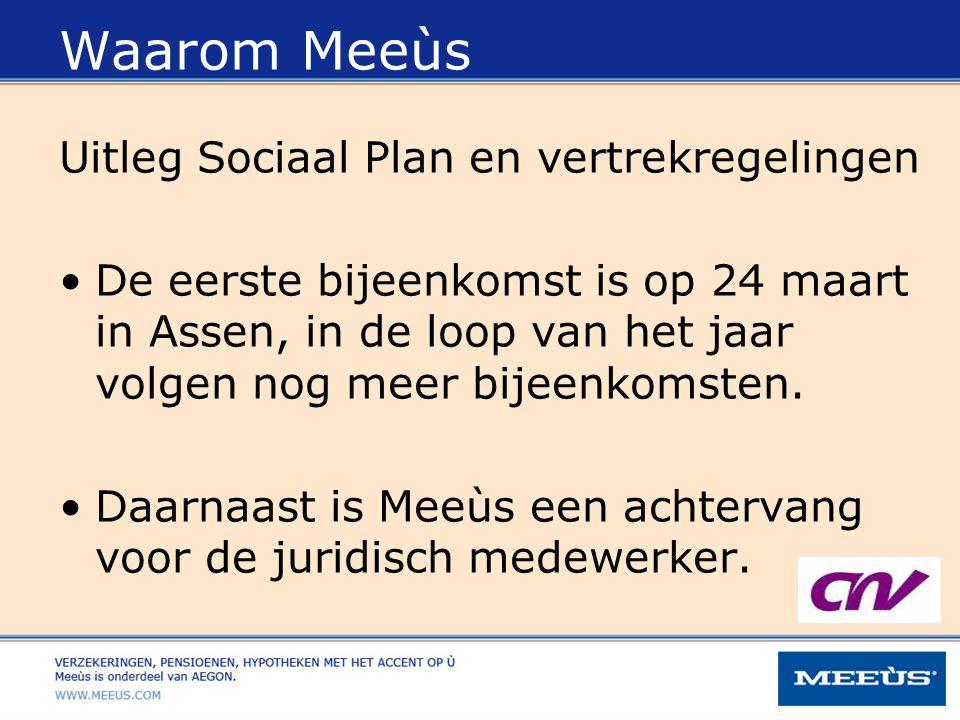 Waarom Meeùs Uitleg Sociaal Plan en vertrekregelingen De eerste bijeenkomst is op 24 maart in Assen, in de loop van het jaar volgen nog meer bijeenkom
