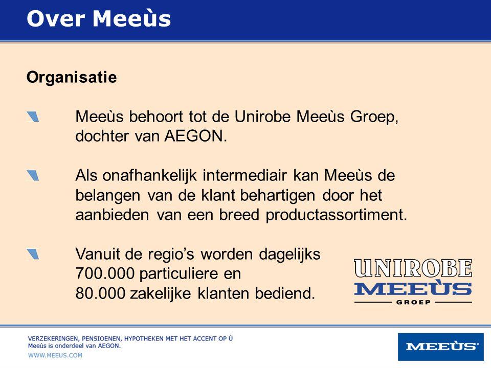 Organisatie Meeùs behoort tot de Unirobe Meeùs Groep, dochter van AEGON. Als onafhankelijk intermediair kan Meeùs de belangen van de klant behartigen
