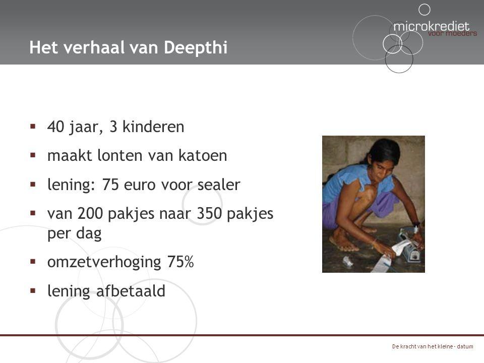 Het verhaal van Deepthi  40 jaar, 3 kinderen  maakt lonten van katoen  lening: 75 euro voor sealer  van 200 pakjes naar 350 pakjes per dag  omzetverhoging 75%  lening afbetaald De kracht van het kleine - datum