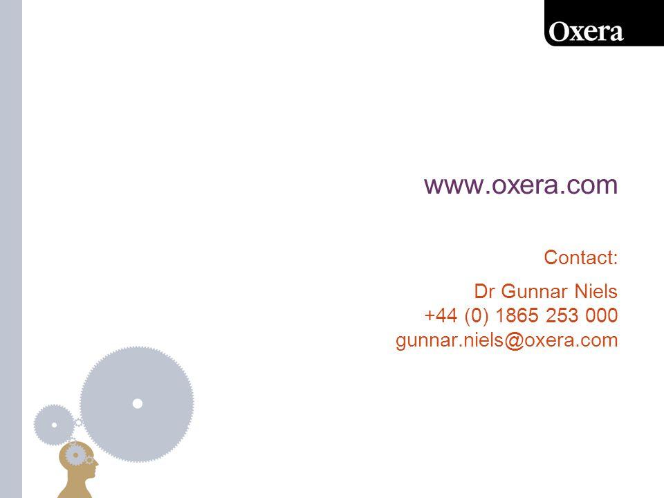 www.oxera.com Contact: Dr Gunnar Niels +44 (0) 1865 253 000 gunnar.niels@oxera.com