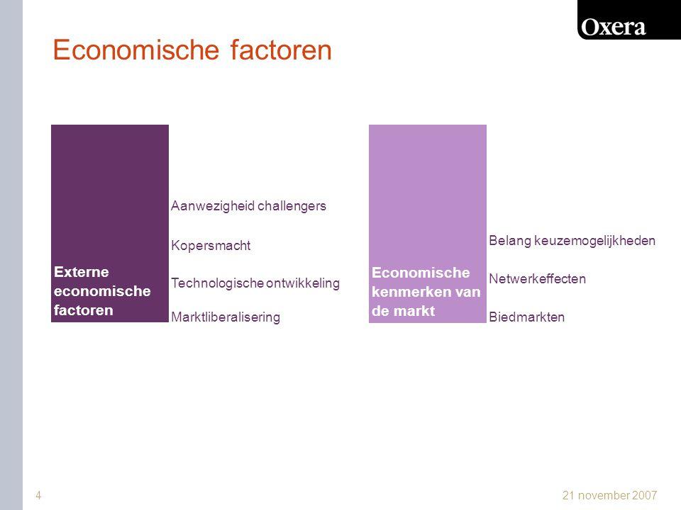 21 november 20075 Marktliberalisering Cosun/CSM (2007) -2-to-1 fusie, vrijwel 100% marktaandeel in Nederland -nieuwe gemeenschappelijke marktordening (318/2006) -toename import, EU produktie beperkt tot sugar belt -druk op groei afzet in andere EU landen -transportkosten  marktstraal 220-300/450km -Cosun/CSM 20% (Tereos and Südzucker ieder 25%) -commodity  stilzwijgende coördinatie.