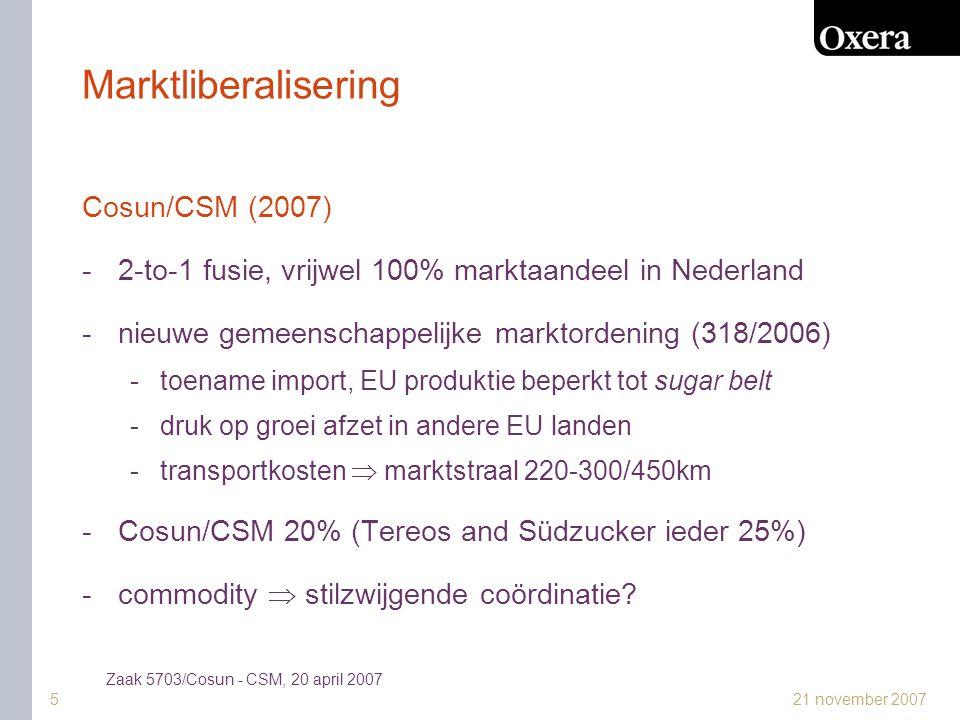 21 november 20076 Technologische ontwikkeling Essent Kabelcom/Casema Multikabel (2006) -55% Nederlandse huishoudens -geen geografische overlap retail markt -inkooppositie tegenover programma-aanbieders -onderhandeling  vergoeding of betaling -concurrentie DVB-T, DSL en satelliet (kabel nog wel 86%) -digitalisering  meer capaciteit voor kanalen -beperkte verticale integratie en exclusiviteit  alleen herverdeling, geen aanbodverschraling Zaak 5796/Cinven - Warburg Pincus - Essent Kabelcom, 8 december 2006