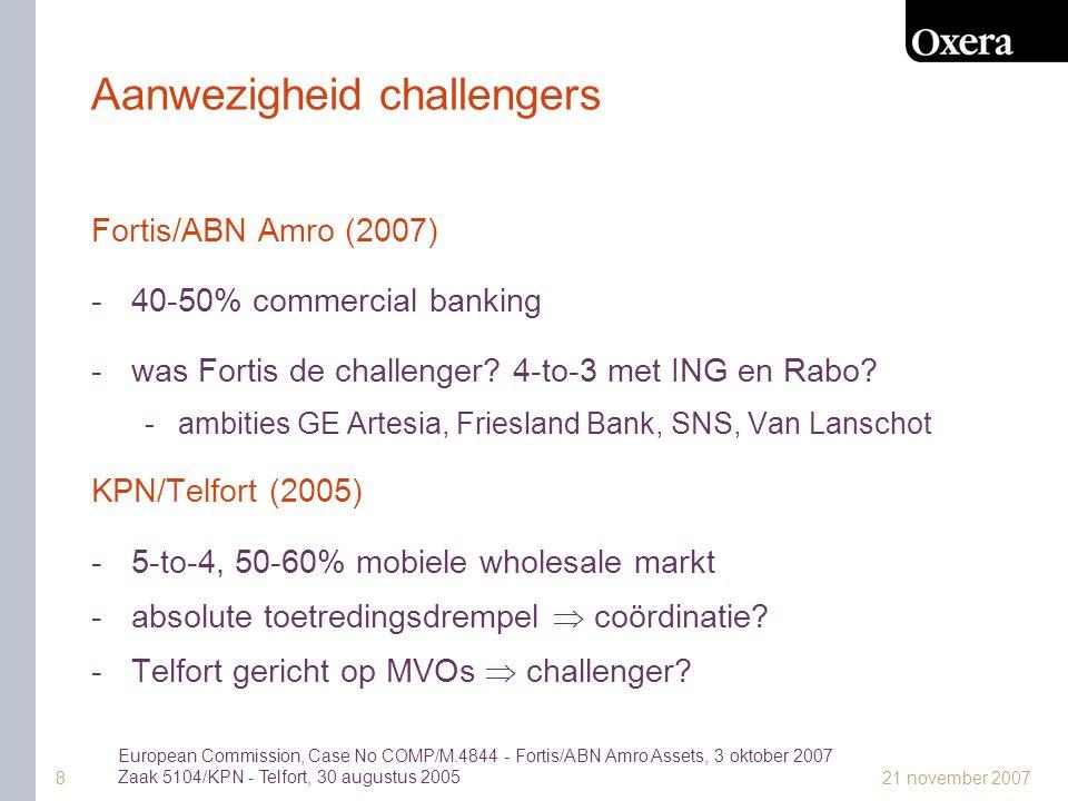 21 november 20078 Aanwezigheid challengers Fortis/ABN Amro (2007) -40-50% commercial banking -was Fortis de challenger.