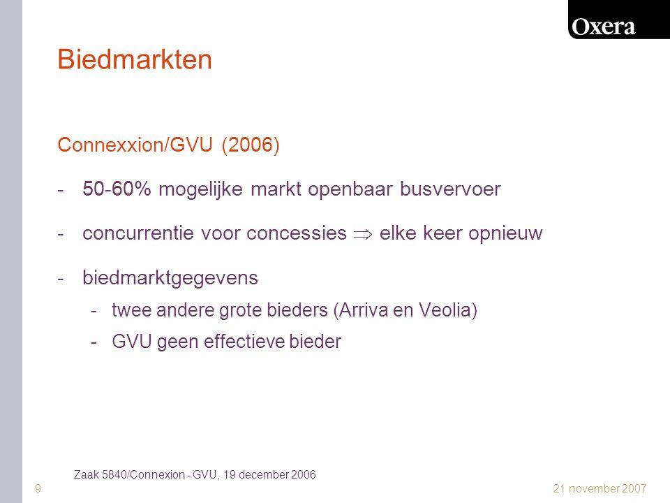 21 november 20079 Biedmarkten Connexxion/GVU (2006) -50-60% mogelijke markt openbaar busvervoer -concurrentie voor concessies  elke keer opnieuw -biedmarktgegevens -twee andere grote bieders (Arriva en Veolia) -GVU geen effectieve bieder Zaak 5840/Connexion - GVU, 19 december 2006