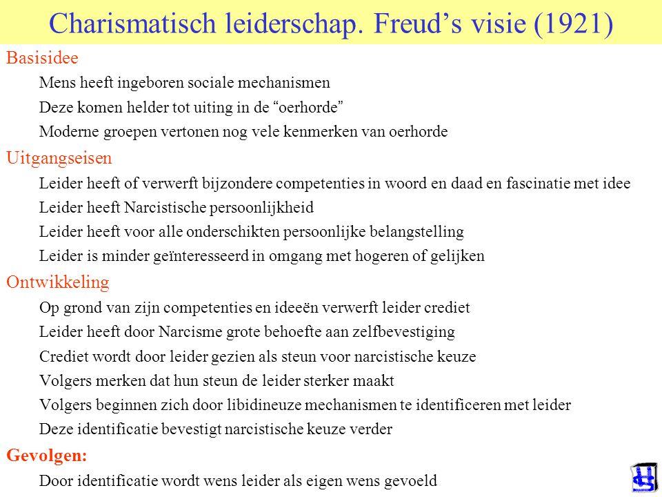 """Charismatisch leiderschap. Freud's visie (1921) Basisidee Mens heeft ingeboren sociale mechanismen Deze komen helder tot uiting in de """" oerhorde """" Mod"""