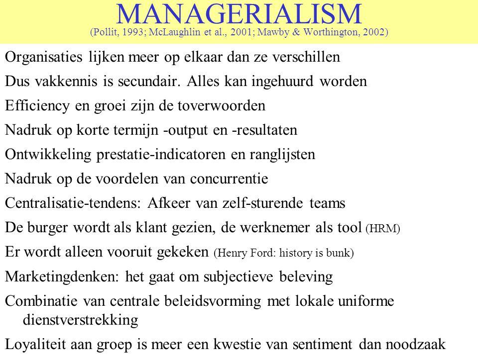 MANAGERIALISM (Pollit, 1993; McLaughlin et al., 2001; Mawby & Worthington, 2002) Organisaties lijken meer op elkaar dan ze verschillen Dus vakkennis is secundair.