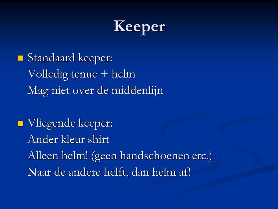 Keeper Standaard keeper: Standaard keeper: Volledig tenue + helm Mag niet over de middenlijn Vliegende keeper: Vliegende keeper: Ander kleur shirt Alleen helm.