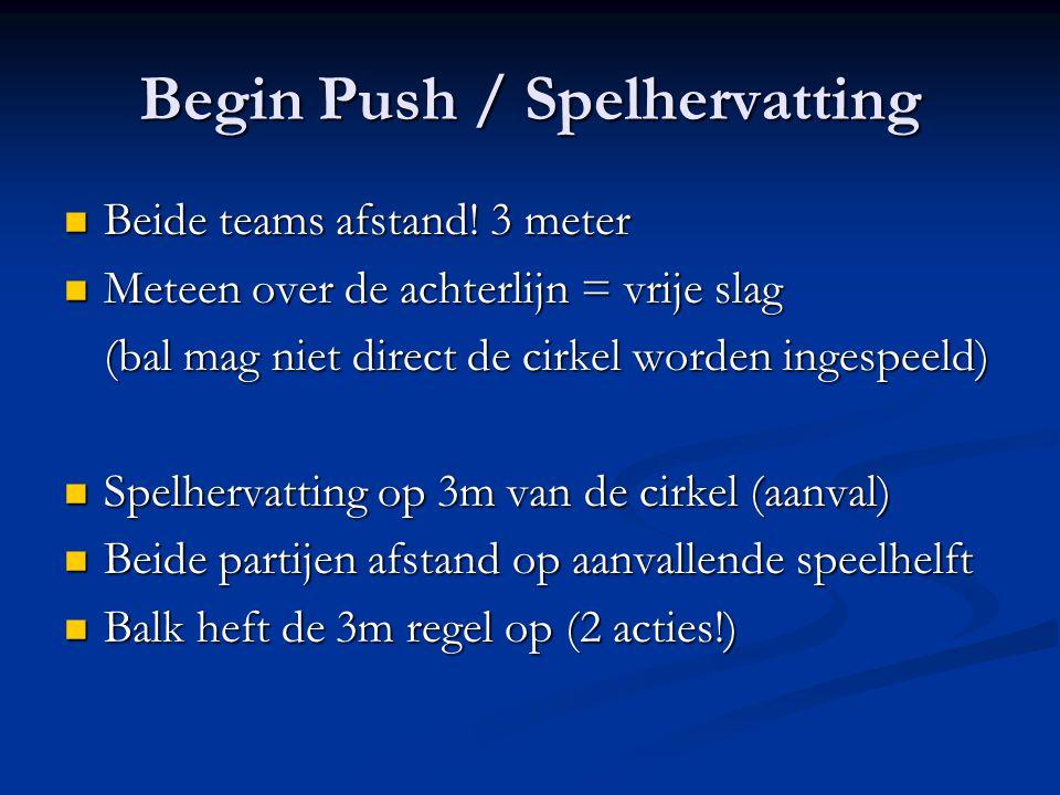 Begin Push / Spelhervatting Beide teams afstand.3 meter Beide teams afstand.