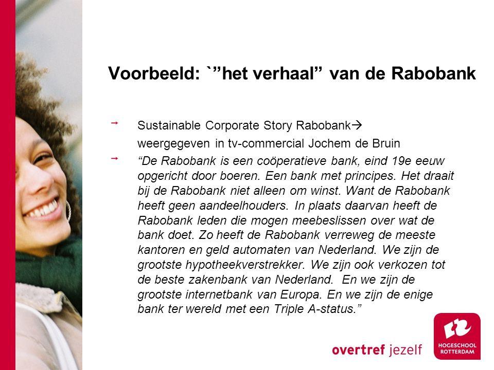 """Voorbeeld: `""""het verhaal"""" van de Rabobank Sustainable Corporate Story Rabobank  weergegeven in tv-commercial Jochem de Bruin """"De Rabobank is een coöp"""