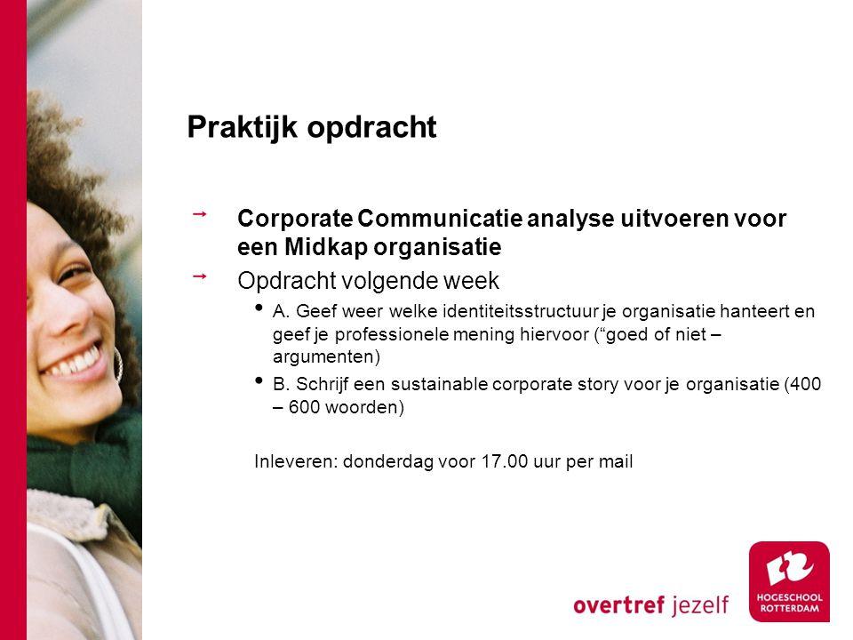 Praktijk opdracht Corporate Communicatie analyse uitvoeren voor een Midkap organisatie Opdracht volgende week A. Geef weer welke identiteitsstructuur