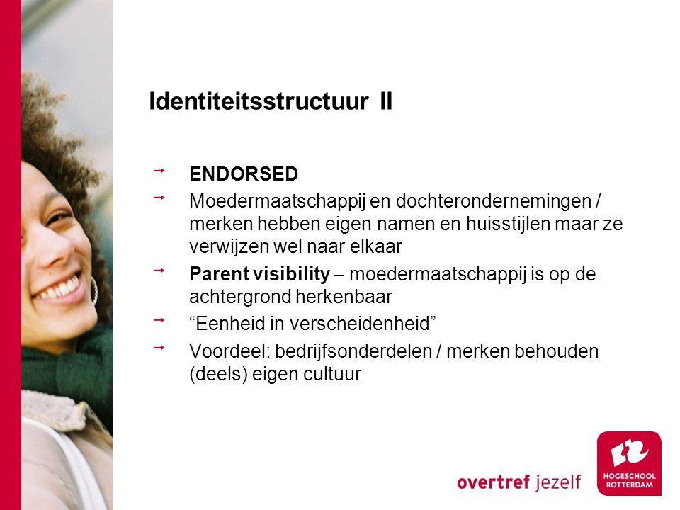 Identiteitsstructuur II ENDORSED Moedermaatschappij en dochterondernemingen / merken hebben eigen namen en huisstijlen maar ze verwijzen wel naar elka
