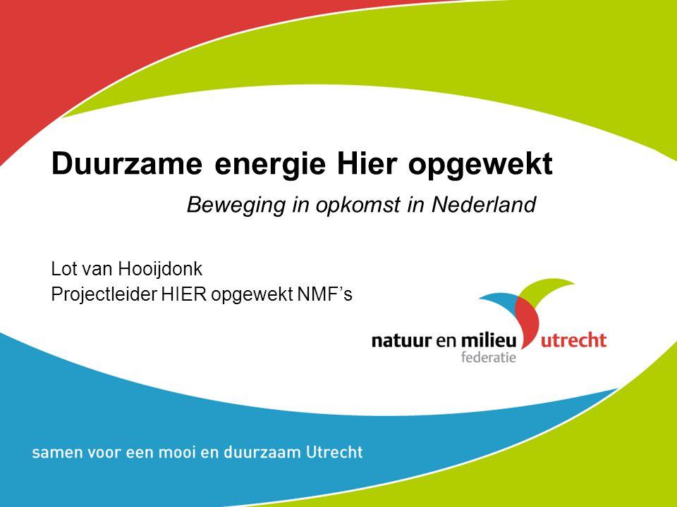 Duurzame energie Hier opgewekt Beweging in opkomst in Nederland Lot van Hooijdonk Projectleider HIER opgewekt NMF's