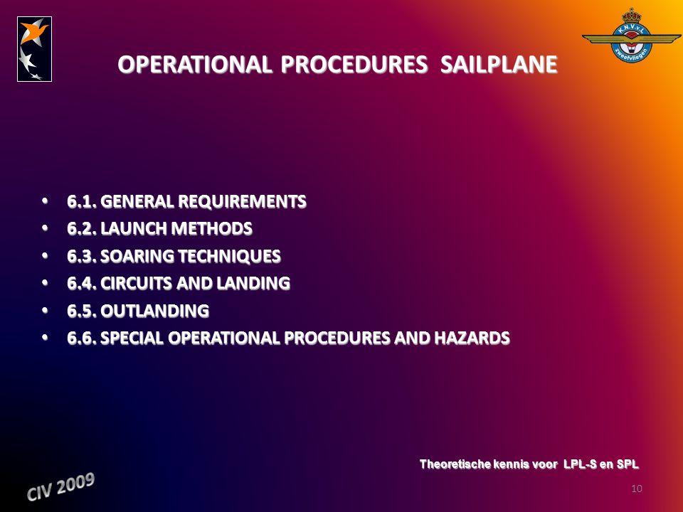 OPERATIONAL PROCEDURES  SAILPLANE OPERATIONAL PROCEDURES  SAILPLANE 6.1. GENERAL REQUIREMENTS 6.1. GENERAL REQUIREMENTS 6.2. LAUNCH METHODS 6.2. LAU