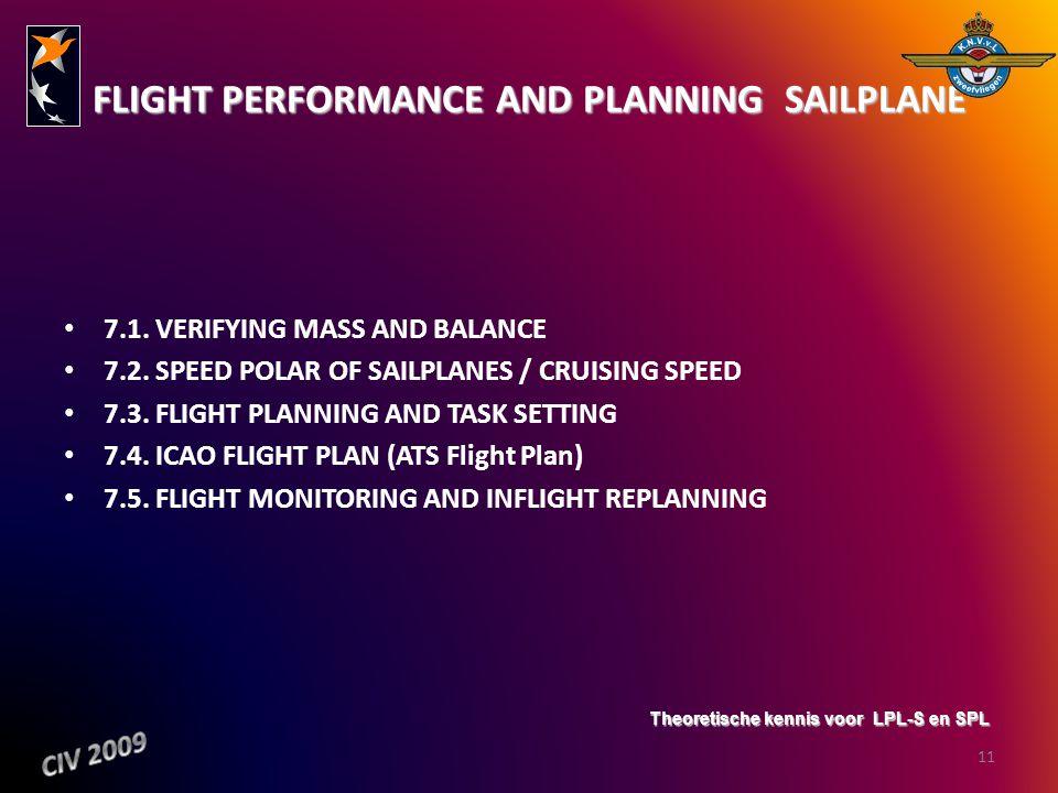 FLIGHT PERFORMANCE AND PLANNING  SAILPLANE 7.1. VERIFYING MASS AND BALANCE 7.2. SPEED POLAR OF SAILPLANES / CRUISING SPEED 7.3. FLIGHT PLANNING AND T
