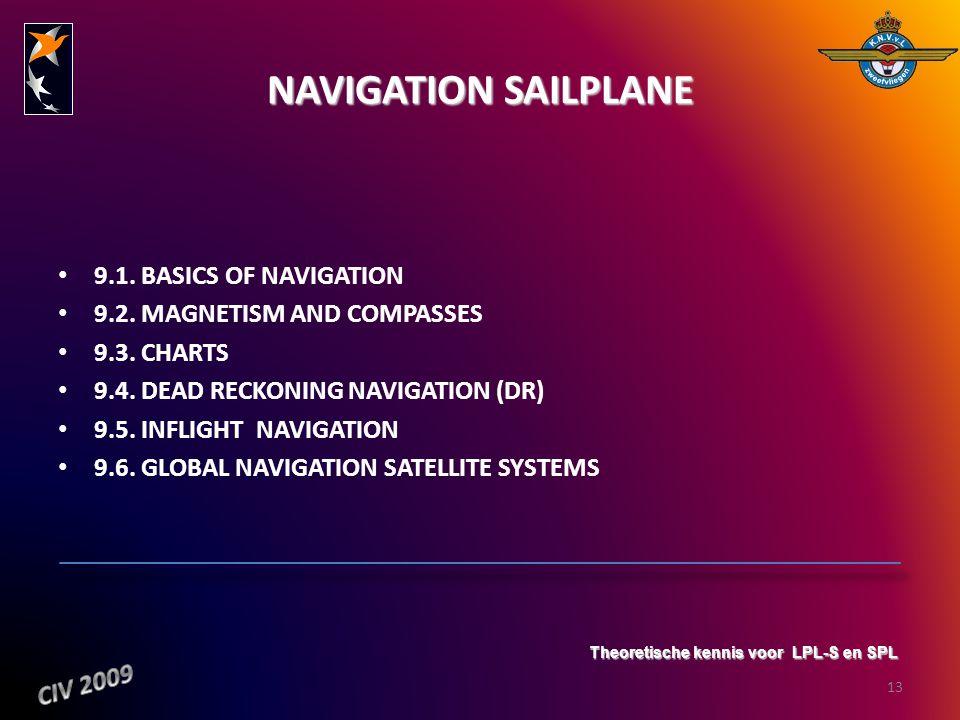 NAVIGATION SAILPLANE 9.1. BASICS OF NAVIGATION 9.2. MAGNETISM AND COMPASSES 9.3. CHARTS 9.4. DEAD RECKONING NAVIGATION (DR) 9.5. INFLIGHT NAVIGATION 9