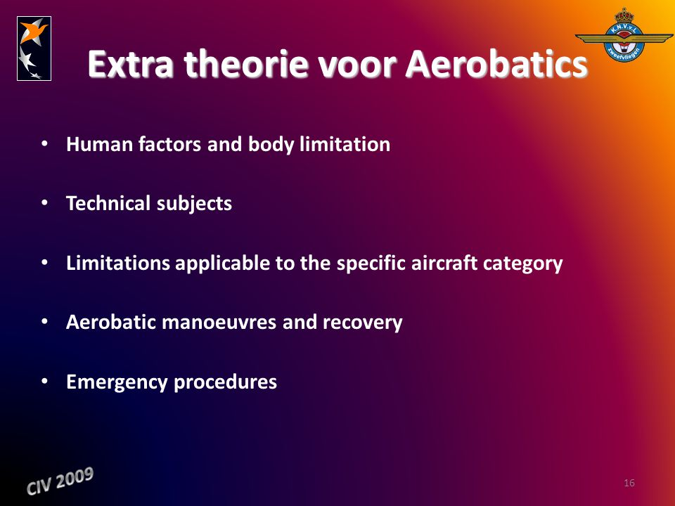 Extra theorie voor Aerobatics Human factors and body limitation Technical subjects Limitations applicable to the specific aircraft category Aerobatic