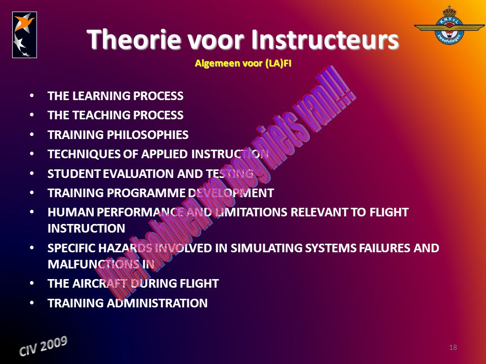 Theorie voor Instructeurs Algemeen voor (LA)FI THE LEARNING PROCESS THE TEACHING PROCESS TRAINING PHILOSOPHIES TECHNIQUES OF APPLIED INSTRUCTION STUDE