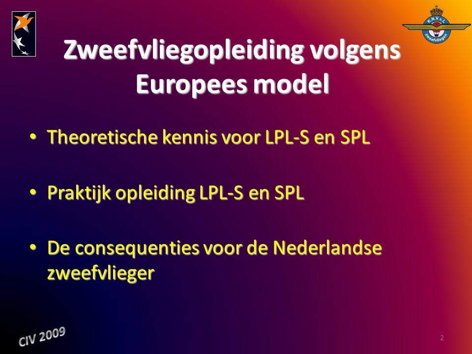Zweefvliegopleiding volgens Europees model Theoretische kennis voor LPL-S en SPL Theoretische kennis voor LPL-S en SPL Praktijk opleiding LPL-S en SPL Praktijk opleiding LPL-S en SPL De consequenties voor de Nederlandse zweefvlieger De consequenties voor de Nederlandse zweefvlieger 2