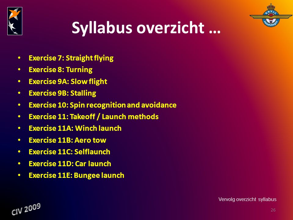 Syllabus overzicht … Exercise 7: Straight flying Exercise 8: Turning Exercise 9A: Slow flight Exercise 9B: Stalling Exercise 10: Spin recognition and