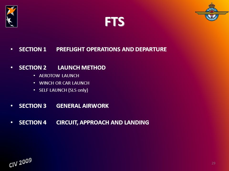 FTS SECTION 1PREFLIGHT OPERATIONS AND DEPARTURE SECTION 2 LAUNCH METHOD AEROTOW LAUNCH WINCH OR CAR LAUNCH SELF LAUNCH (SLS only) SECTION 3 GENERAL AI