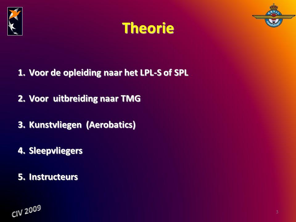 Theorie 1.Voor de opleiding naar het LPL-S of SPL 2.Voor uitbreiding naar TMG 3.Kunstvliegen (Aerobatics) 4.Sleepvliegers 5.Instructeurs 3