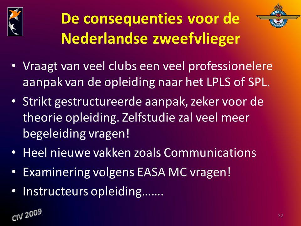 De consequenties voor de Nederlandse zweefvlieger Vraagt van veel clubs een veel professionelere aanpak van de opleiding naar het LPLS of SPL. Strikt