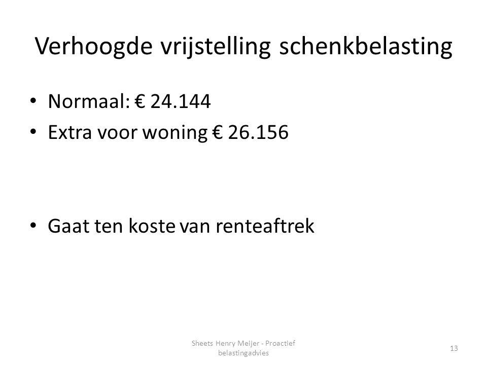 Verhoogde vrijstelling schenkbelasting Normaal: € 24.144 Extra voor woning € 26.156 Gaat ten koste van renteaftrek 13 Sheets Henry Meijer - Proactief