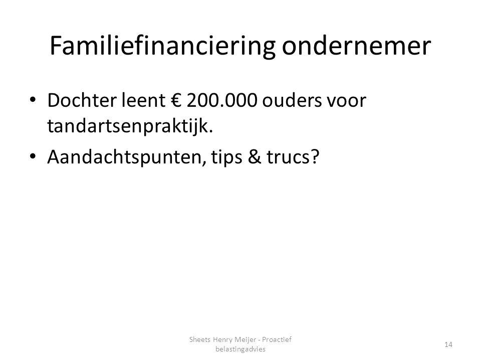 Familiefinanciering ondernemer Dochter leent € 200.000 ouders voor tandartsenpraktijk. Aandachtspunten, tips & trucs? 14 Sheets Henry Meijer - Proacti