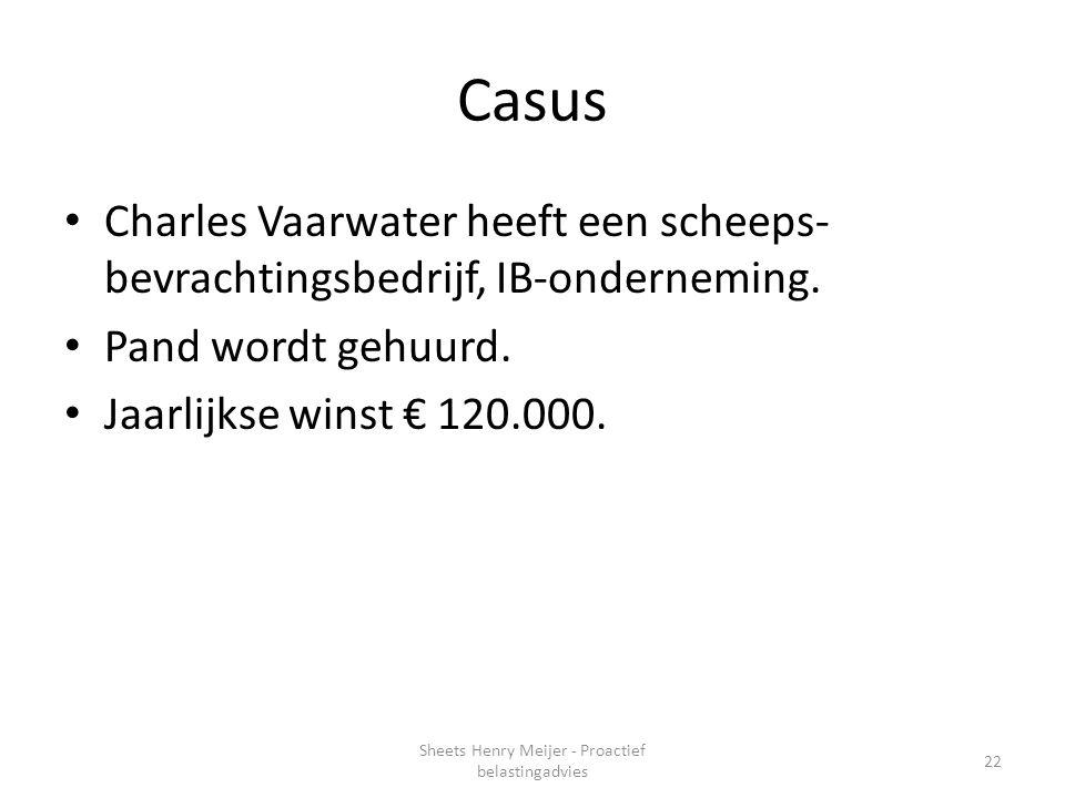 Casus Charles Vaarwater heeft een scheeps- bevrachtingsbedrijf, IB-onderneming. Pand wordt gehuurd. Jaarlijkse winst € 120.000. 22 Sheets Henry Meijer