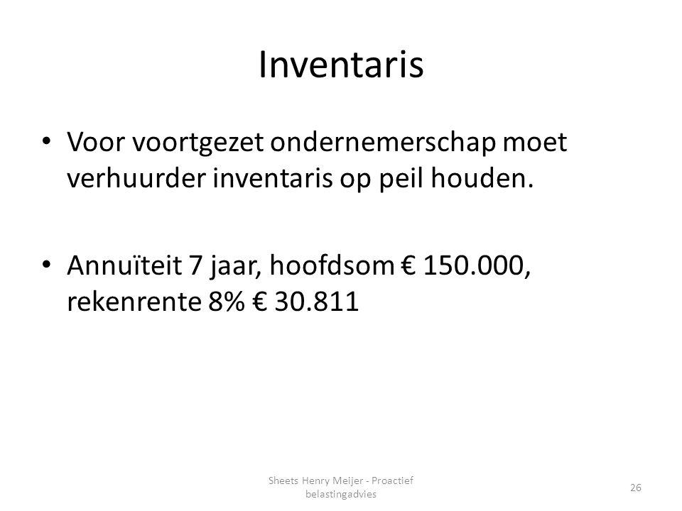 Inventaris Voor voortgezet ondernemerschap moet verhuurder inventaris op peil houden. Annuïteit 7 jaar, hoofdsom € 150.000, rekenrente 8% € 30.811 26