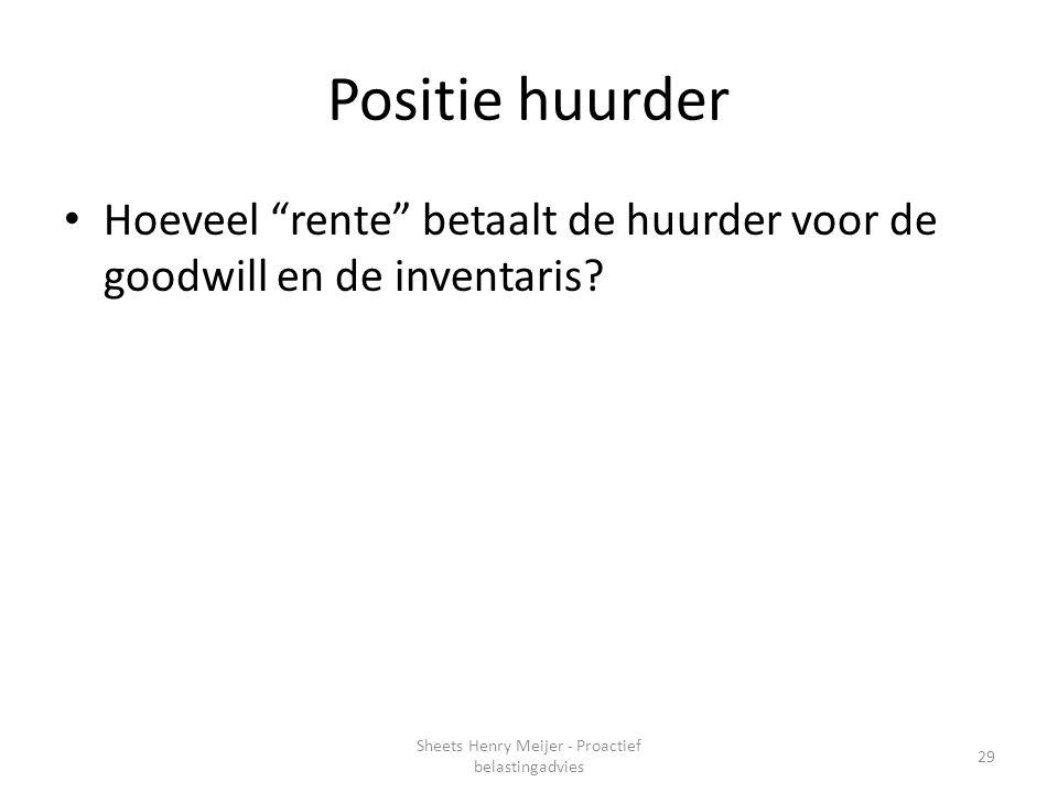 """Positie huurder Hoeveel """"rente"""" betaalt de huurder voor de goodwill en de inventaris? 29 Sheets Henry Meijer - Proactief belastingadvies"""
