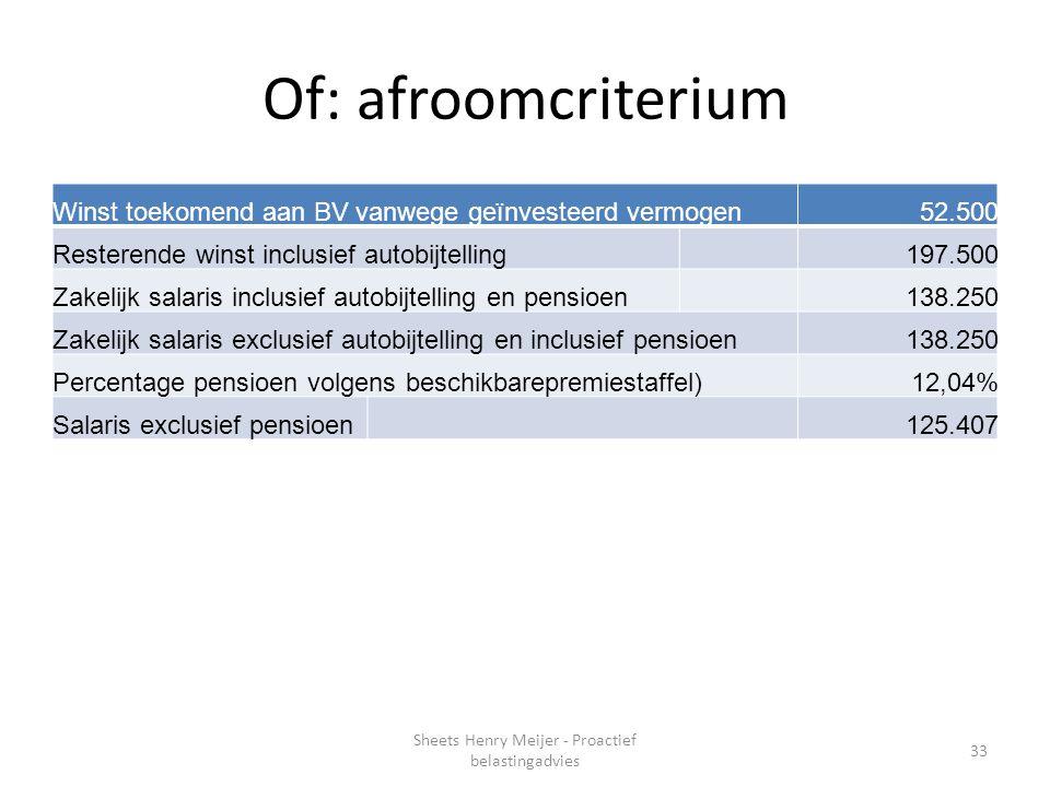 Of: afroomcriterium Winst toekomend aan BV vanwege geïnvesteerd vermogen52.500 Resterende winst inclusief autobijtelling197.500 Zakelijk salaris inclu